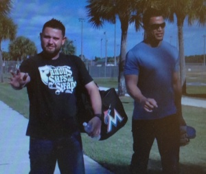 Ricky Nolasco and Giancarlo Stanton arrive at camp.