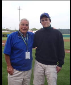 Jack McKeon with Steve Bartman look-a-like at Greensboro game Wednesday. Photo was Tweeted by the Grasshoppers.