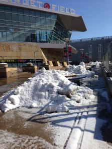 Snow piled up outside Target Field.