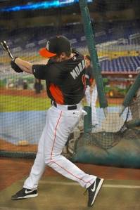Marlins top pick Colin Moran takes BP.  (Robert Vigon/Miami Marlins)