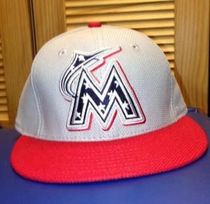 The style of hats the Marlins wore on The Fourth.