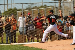 Jose Fernandez throws off the mound for the first time. (Denis Bancroft/Miami Marlins)