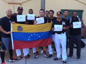 Marlins players, including Henderson Alvarez, call for peace in Venezuela.