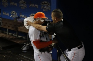 Giancarlo Stanton and Jose Fernandez celebrate walk-off.