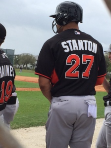 GIancarlo Stanton sports new helmet